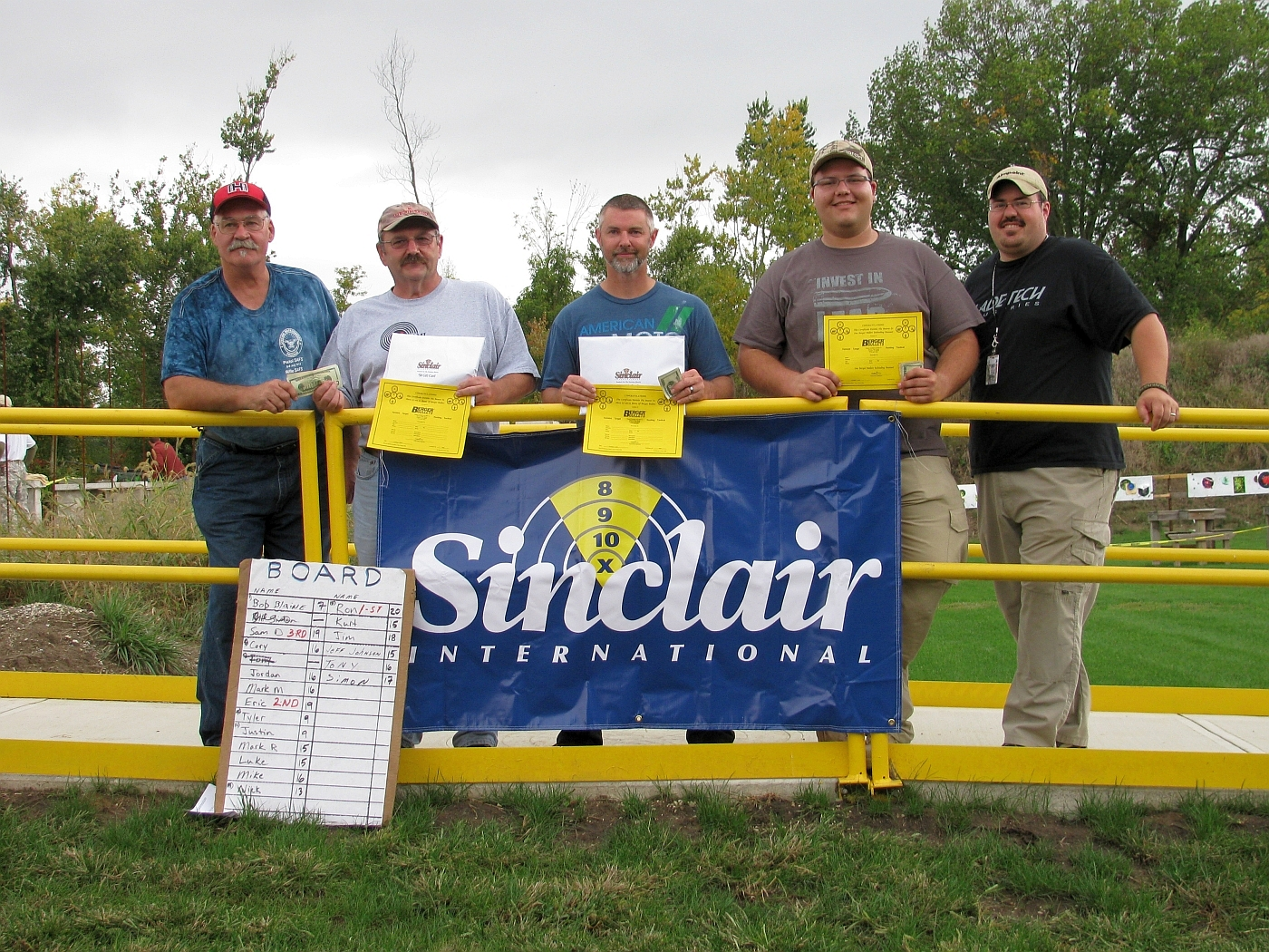 """From Left to Right, Match Director - Mark ""Mountain Man"" McKee, 1st Place – Ron Dague, 2nd Place – Eric, 3rd Place – Sam D., Mike Swaidner, General Manager – Hillside Shooting Sports."""