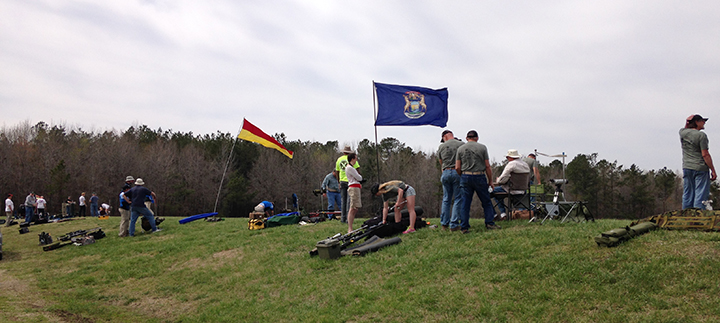 600 yard team match.  The flagpole was even more bent a second before this picture was taken.