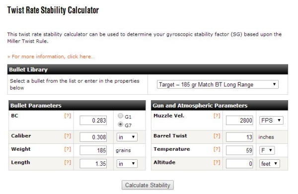 Twist Rate Stability Calculator Input