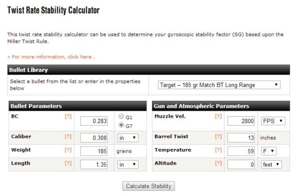 Twist Rate Stability Calculator Input