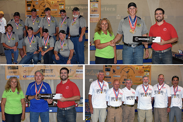 2015 National F-Class Mid-Range Champions. Listed from left to right, top to bottom - MI Rifle Team (F-TR Team Champions), Bryan Litz (F-TR Champion), John Myers (F-Open Champion) and Team SEB/Berger (F-Open Team Champions).