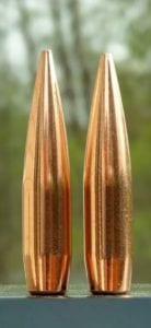The new Berger 200.20X (left) compared to the standard 200 grain Hybrid Target (right).