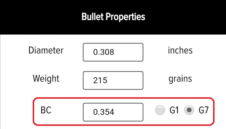 Bullet Properties - G7 Ballistic Coefficient