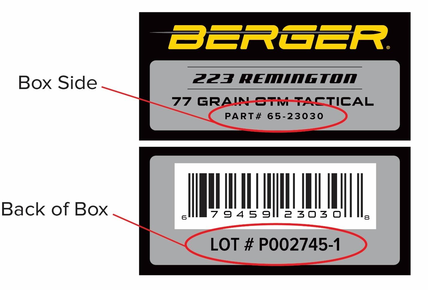 Ammo label example